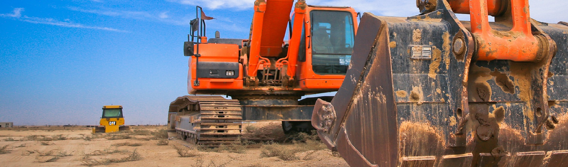 closeup of heavy equipment and earth movers