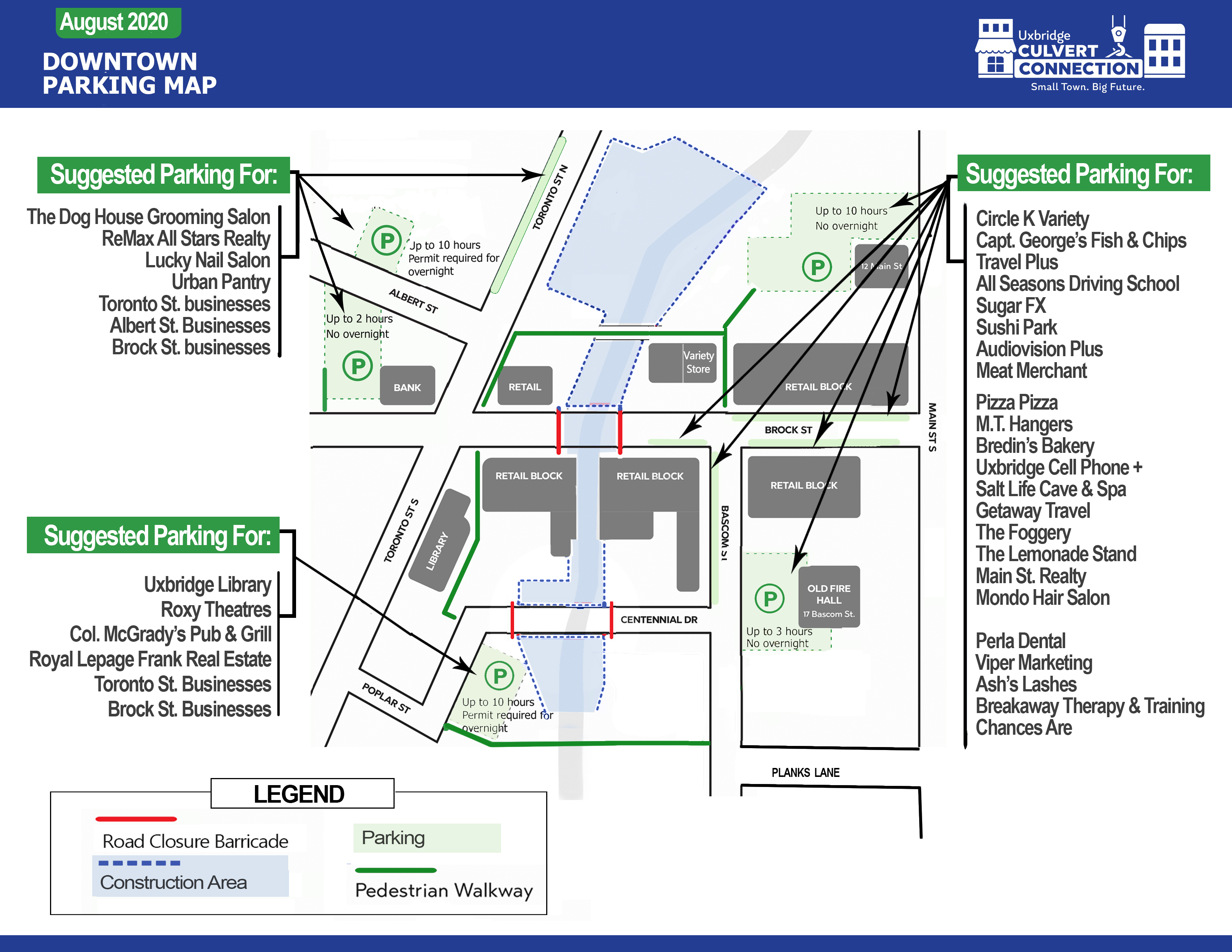 Downtown parking and street closure map