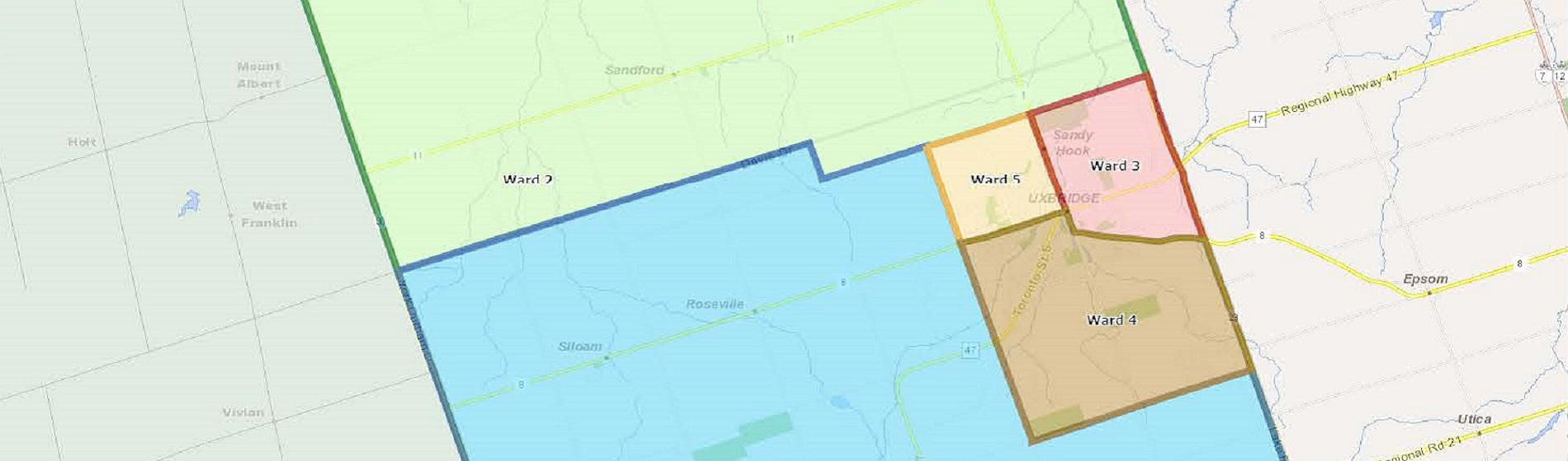 map of wards of the township of uxbridge